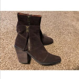 Lucky brand brown suede bootie size 10